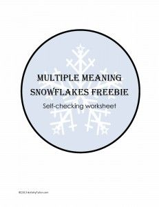 Activity Tailor: Multiple Meaning Snowflakes Freebie! Pinned by SOS Inc. Resources. Follow all our boards at pinterest.com/sostherapy for therapy resources.