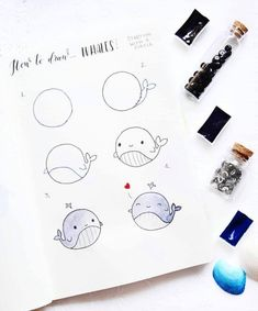 How to draw a cute whale? Here is a tutorial by ig@lifeinabujo. | Bullet journal doodling ideas