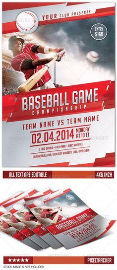baseball game flyer template print templates pinterest
