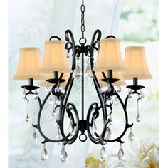 Brighten your home decor with this classy iron and crystal chandelier  Enchanting light features refined black fixture and much more  Attractive chandelier is sure to add a splash of elegance to your home decor