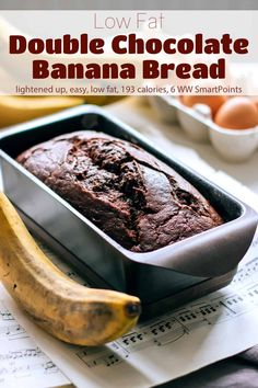 A moist rich dense low fat Double Chocolate Banana Bread, infused with cocoa and speckled with miniature chocolate chips perfect for a decadent breakfast or try it for dessert topped with a scoop of vanilla ice cream. #lowfatdoublechocolatebananabread #chocolatebananabread #lowfatbananabread #bananabread