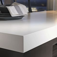You may not be aware that if you have any type of DIY in you it might be possible to install beautiful Corian counterstops yourself. There are in fact kits that make installing attractive high-quality Corian countertops fairly Solid Surface Countertops, Formica Countertops, Bathroom Countertops, Kitchen Countertop Materials, New Kitchen, Kitchen Reno, Kitchen Remodeling, Beautiful, Home Decor