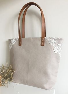 Handmade Shabby Chic Cotton Wedding Bag, Lace Bag, Lace Tote, Vintage Style, Beige, Make to Order, L033