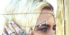 Boho Silver Cross Head Piece