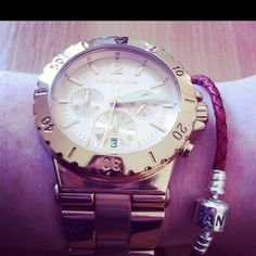 Wrist Combo: Michael Kors Rose Gold Watch and Pandora Red Leather Single Strand Bracelet