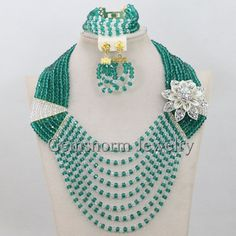 2017 New Teal Green Nigerian Wedding African Beads Jewelry Set Clear AB Crystal Costume Chunky Necklace Set Free Shipping WA146 #Affiliate