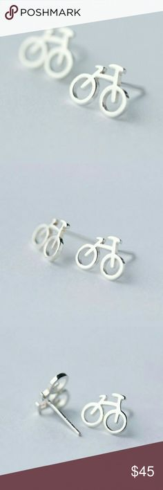 Coming Soon! 925 Sterling Silver Bicycle Earrings 925 Sterling Silver Bike Bicycle Stud Earrings. Perfect gift for the cyclist in your life... or yourself! Come with clear rubber backings.   Buy with confidence! I am a...  ~ Posh Ambassador  ~ Fast shipper  ~ Top-rated seller  ~ Top 10% sharer  ~ Posh mentor Trendy Jewels Jewelry Earrings