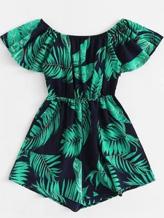 ROMWE Tropical Off Shoulder Leaf Print Romper Female Summer Off the Shoulder Short Sleeve High Waist Wide Leg Vacation Playsuit Girls Fashion Clothes, Teen Fashion Outfits, Girl Fashion, Girl Outfits, Sleepwear Women, Pajamas Women, Rompers Women, Jumpsuits For Women, Cute Casual Outfits