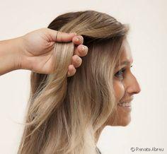 Penteado fácil para o trabalho: veja o passo a passo de um cabelo semi preso com tiara de trança lateral Long Hair Styles, Beauty, Fashion, Updos Hairstyle, Easy Hairstyle, Grey Hairstyle, Scalp Scrub, Style, Fashion Styles