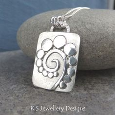 Pebble Swirl Sterling Silver Pendant - Organic Metalwork Pebbles Necklace £50.00