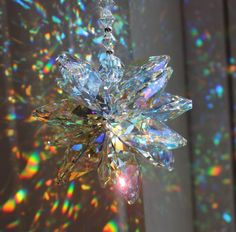 Huge Supernova Burst Suncatcher made with Swarovski Octagons in Clear AB Crystal, Rainbow Maker, Window Prism Swarovski Crystal Figurines, Swarovski Crystals, Accesorios Casual, String Lights Outdoor, Aesthetic Images, White Ribbon, Suncatchers, Light Decorations, Clear Crystal