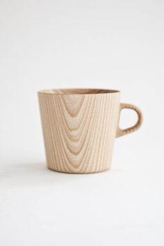 Natural wood mug