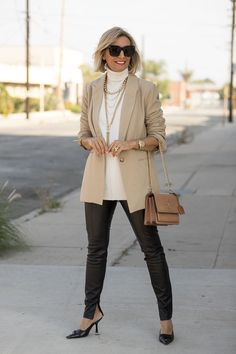 Parisian Chic In A Blazer And Turtleneck Camel Pants Outfit, Turtleneck Outfit, Fashion Over Fifty, 50 Fashion, Womens Fashion, Faux Leather Pants, Leather Leggings, Leather Jacket, Tan Blazer