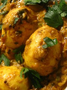Egg Masala Curry in a Spicy Tomato Gravy.
