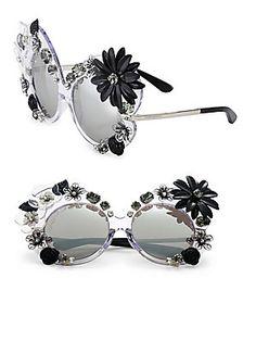b207bde19b2a06 Dolce  amp  Gabbana 60MM Floral-Embellished Irregular Mirrored Sunglasses  Dolce   Gabbana, Sunglasses