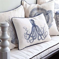 Nautical cushion check out the shells and octopus.