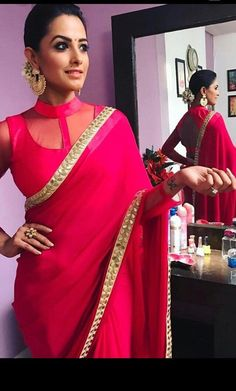 Excited to share this item from my shop: Pink satin crepe saree custom made designer see through blouse for womens wedding party wear sari sarees fabric Kurta Neck Design, Saree Blouse Neck Designs, Fancy Blouse Designs, Dress Neck Designs, Kurta Designs, Saris, Rosa Satin, Pink Satin, Shagun Blouse Designs