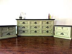 Shabby Chic Black U0026 Olive Green Bedroom Set   $600   SOLD | Uproar Decor  Upcycled Furniture | Pinterest | Olive Green Bedrooms, Green Bedrooms And  Upcycled ...