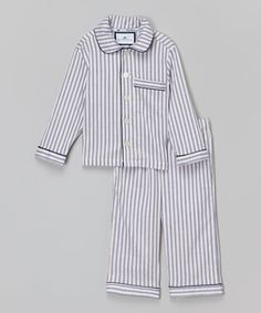 Another great find on #zulily! Navy French Ticking Pajama Set - Infant, Toddler & Boys #zulilyfinds