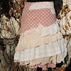 upcycled skirt . MORNING GLORY by pondhopper on Etsy