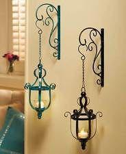 Metal Hanging LED Candle Lantern Wall Sconce Vintage Scroll Votive Holder Decor