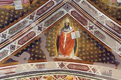 Agnolo Gaddi - Dottori della Chiesa, dett. San Gregorio Magno - affresco - 1385 - volta Cappella Castellani - Basilica di Santa Croce a Firenze
