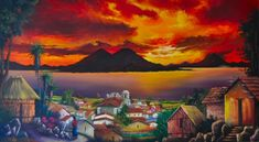 Lago Atitlan, Guatemala - our proudest art buy, last time we were in Chichicastenango!  Highlight of our dining room.