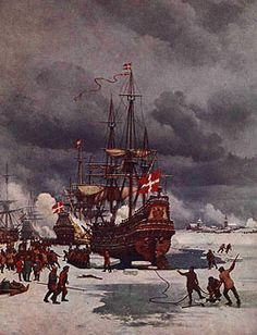 the Baltic often freezes over in Winter - permitting Swedish armies to cross to the Danish islands in 1659 and on other occasions too Swedish Army, Danish Christmas, Battle Fight, Naval History, Great Paintings, Sailors, Lighthouses, 17th Century, Sailing Ships