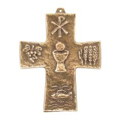 First Holy Communion Petite Bronze Cross,  $39.95. A unique and meaningful gift with rich symbolism, this First Holy Communion solid bronze cross features iconic imagery associated with the gifts of the Holy Eucharist:  Chi-Rho (name of Christ), Fish (Gospels), wheat, grapes, and host and chalice (Body and Blood of Christ).
