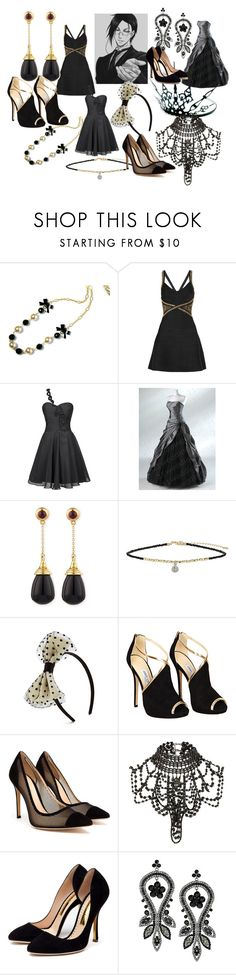"""Sebastian Michaelis Dresses"" by animangafashion ❤ liked on Polyvore featuring Hervé Léger, FairOnly, Syna, Topshop, Jimmy Choo, Gianvito Rossi, River Island and Rupert Sanderson"