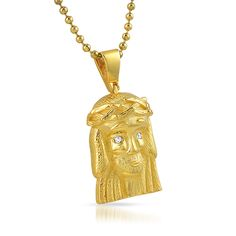 This super clean Micro Jesus Piece is highly detailed without the bling.  Just two lab created simulated diamonds for the eyes.  Comes with a FREE bead hip hop chain. Very classic look to add to our micro Jesus pendant collection. 18K Gold dipped for a genuine shine.  All of the rappers and celebrities are wearing Micro Jesus Piece Charms.  Order Yours Today!  Priced to sell fast.  Limited quantities available.