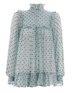 Whitewave Bib Blouse, from our Spring 2018 Ready To Wear Collection, in Seafoam silk crinkle georgette with navy dot embroidery. Sheer button up blouse with r… Dressy Tops, Hijab Fashion, Fashion Dresses, Hijab Stile, Frill Blouse, Vetement Fashion, Cute Tops, Latest Fashion For Women, Womens Fashion