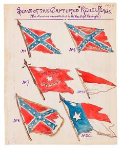 From Battle of Antietam, Md., 17 September 1862. Some of the Captured Rebel Flags.    Robert Knox Sneden Diary.