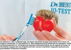 Boris Becker gewinnt den großen Dr. Best IQ-Test gegen die klügere Zahnbürste im Tiebreak der vierten Rechenaufgabe.