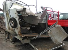 Can you believe that 2 horses got out of this terrifying trailer crash with only minor injuries? One of them was in foal too! #horses #horsetrailer #crash