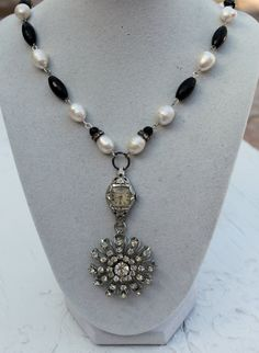 $72Vintage Rhinestone,Watch, Baroque Pearl and Onyx Assemblage Necklace...Back In Time