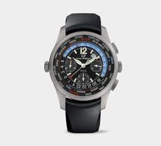 Name: Girard-Perregaux WW.TC Financial Chronograph Material: titanium Size: 43mm Movement: automatic Key features: chronograph, showing 24 time zones in the top financial markets, sapphire crystal, water resistant to 100m, 46-hour power reserve Price: $16,800 Website: girard-perregaux.com