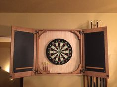 Handmade Quartersawn Oak Dartboard Cabinet with chalkboard score boards. Hangs on the wall with a French cleat system Dart Board Backboard, Dart Board Cabinet, French Cleat System, Bar Shed, Home Blogs, Tea Box, Red Oak, Bars For Home, Home Projects