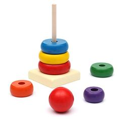 C&C Products Kids Baby Toy Wooden Stacking Ring Tower Educational Toys Rainbow Stack Up Play