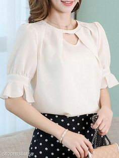 The Everyday Style: Round Neck Cutout Plain Petal Sleeve Blouses Lace Dress Styles, Blouse Styles, Blouse Designs, Cheap Womens Tops, Womens Trendy Tops, Petal Sleeve, Outfit Trends, Casual Tops, Blouses For Women