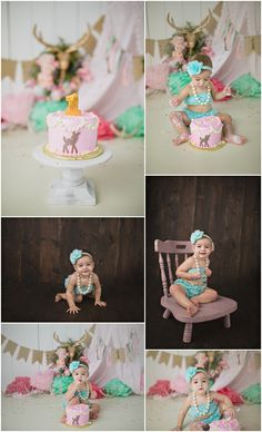 Our Deer is Turning One Michelle Voigt Photography  Bryan / College Station Cake Smash Photographer