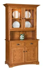 Amish Mission Two Door Hutch with Short Top Doors and Open Throat