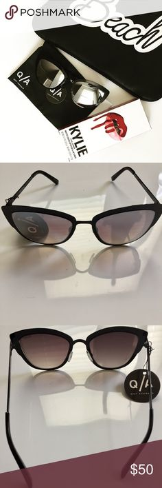 Quay Australia Black Super Girl Cat-eye Sunnies NWT. Quay Australia Super Girl cat-eye sunnies. Super adorable sunnies. The frames are metal with polycarbonate lens. The hinges are stainless steel. Width: 147mm; height: 51mm; nose gap: 20mm. Quay Australia Accessories Sunglasses
