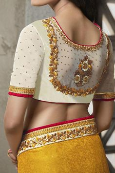 Beautiful Patch Work Blouse Models - Top 20 Ideas For You Source by anjanapardeshi Blouses Blouse Back Neck Designs, Silk Saree Blouse Designs, Fancy Blouse Designs, Bridal Blouse Designs, Blouse Patterns, Dress Designs, Indian Blouse Designs, Sewing Patterns, Sari Bluse
