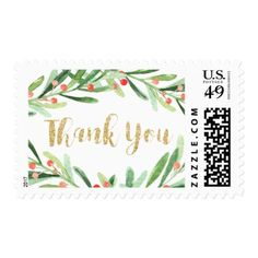 Christmas Holly Wreath Thank You Postage - wedding thank you gifts cards stamps postcards marriage thankyou