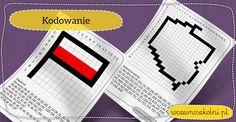 Kodowanie dla dzieci - flaga i konturowa mapa Polski Poland, Playing Cards, Bullet Journal, Education, Dom, Maps, Therapy, Historia, Playing Card Games