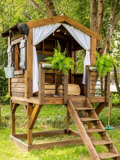 Our DIY Playhouse - Hamilton Park Home Playhouse Interior, Backyard Playhouse, Backyard Playground, Backyard For Kids, Backyard Patio, Backyard Landscaping, Kids Playhouse Plans, Outdoor Spaces, Outdoor Living