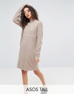 a948c1df406 ASOS TALL Chunky Knit Dress In Rib With High Neck - Pink Knit Dress