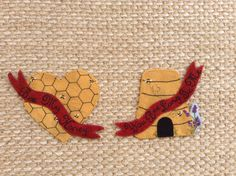 """PATTERN - """"Bee My Honey"""" wool applique' Valentine Mat or Refrigerator Magnets. on Etsy, $8.00"""
