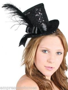 Mini Top Hat Burlesque Sequins & Feather Costume Theme Party